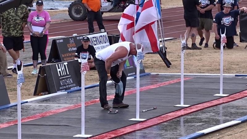 David Horne Braced Bending WR 3 x 24 x 16mm bars in 1min 8sec at UK strongest man 2018
