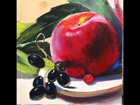 Натюрморт с яблоком и виноградом, пишем с Татьяной Букреевой.