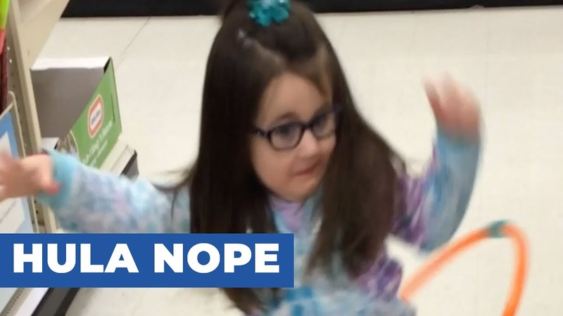Little Girl Fails At Hula Hooping