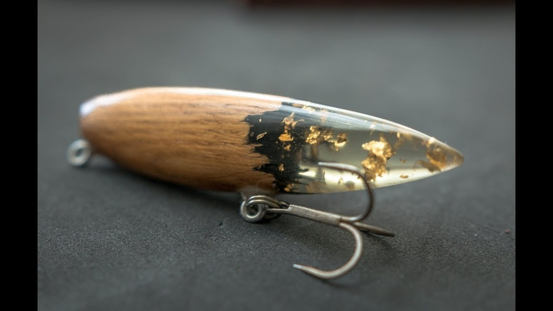Wooden vintage style lure with 24 karat gold leaf resin tail will it catch anything
