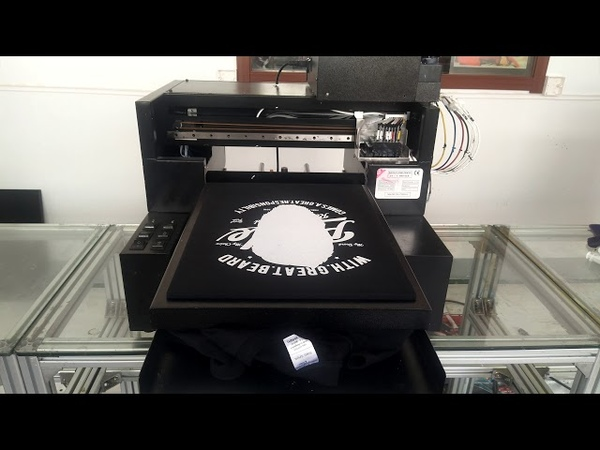 A3 dtg direct to garment printer black tshirt sample video shenzhen inz tech