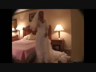 Wife humiliates her cucky in her wedding dress (he calls and hangs up)