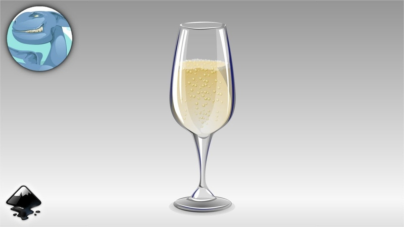 A glass of champagne. Inkscape speed drawing.