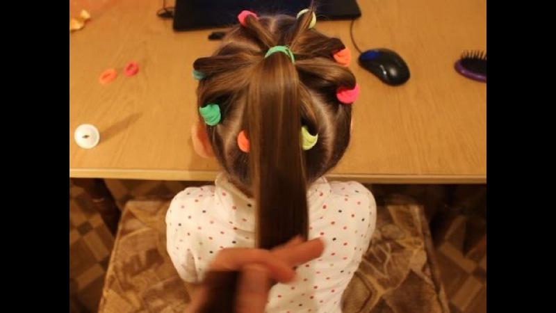 Венок (корзинка) из резинок и хвост - простая детская прическа❤ Hairstyle for school