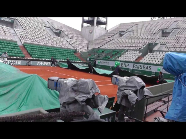 Rafael Nadal 2013 French Open - practicing and then rained out May 24 1030am
