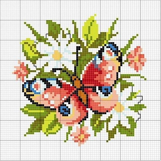 Вышивка бабочки схемы