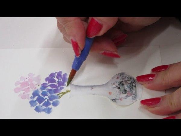 「ほのぼの一筆画」紫陽花(あじさい)を花瓶に Hydrangea in a vase