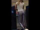 Hot Blonde in Painted Leggings Show off her Perfect Ass