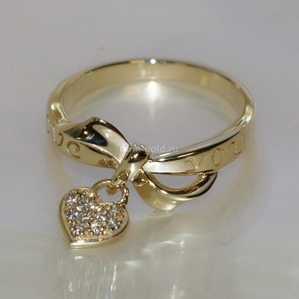 золотые кольца с сердечками