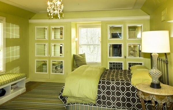 Дизайн спальни фото в зеленом цвете