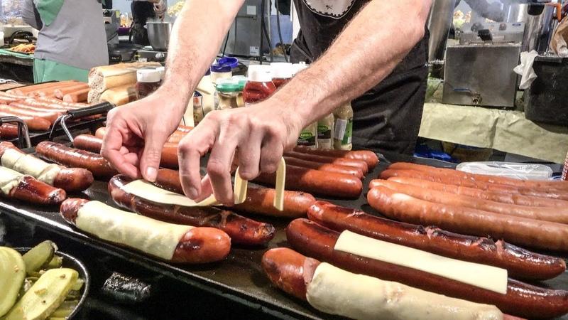 Polish Sausages Kielbasa and Cheese Tasted in London. Street Food