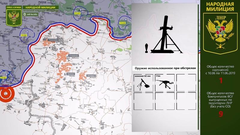 11 июня 2019 - Обстановка на линии соприкосновения за сутки | Карта обстрелов