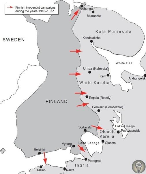 Советско-финская война 1918 года Финские националисты попытались воплотить мечту о великой Финляндии и вторглись на территорию советской России. В декабре 1917 года представители Великого