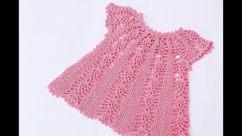 Crochet pink dress for a girl Majovel crochet crochetdress