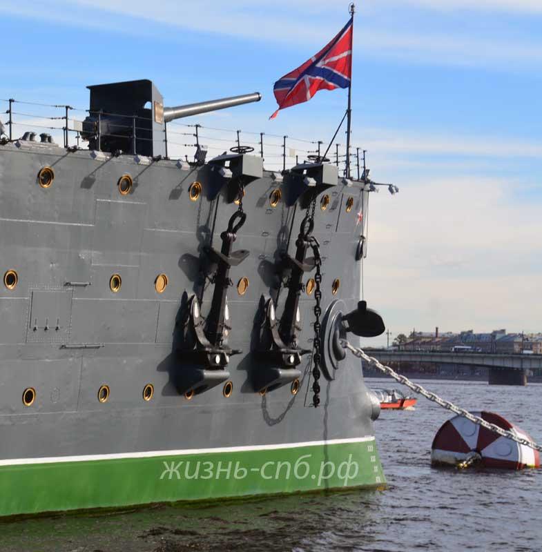 Якоря как украшение крейсера Авроры