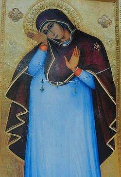 Единственная икона, где Богородица беременна.