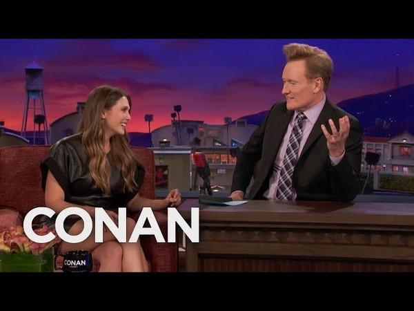 Elizabeth Olsen Teaches Conan Russian Curse Words - CONAN on TBS