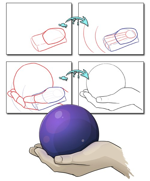 Рисунки рук держащих шар