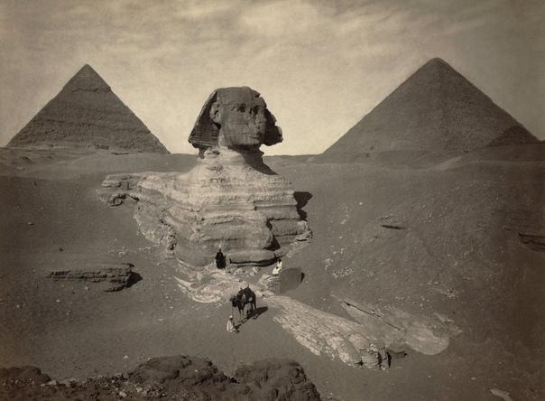 Частично раскопанный Большой Сфинкс (1878 год)
