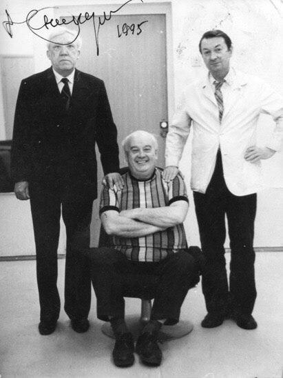 Знаменитая троица: Юрий Никулин, Eвгений Моргунов иГеоргий Вицин.