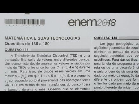 Resolução Enem Matemática 2018 (136 a 145)