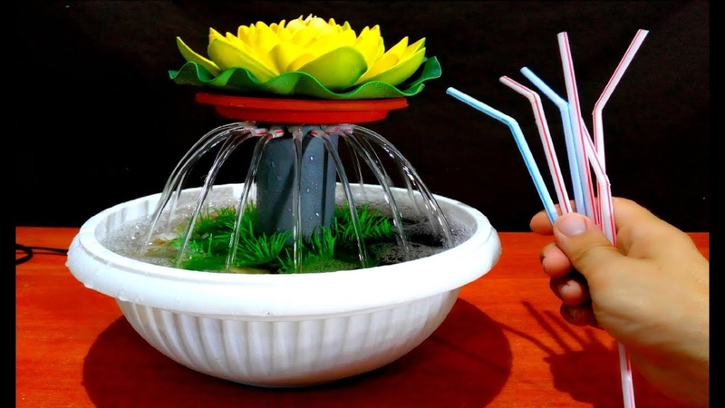 How to make Tabletop water Fountain using Drinking Straws DIY