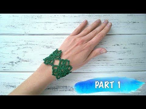 Beginner needle tatting. Bracelet with beads DIY / Фриволите иглой для начинающих. Браслет с бисером