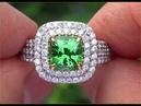 GIA Certified Extra Large 4 19 Carat Tsavorite Diamond Ring Rare Top Color With VS Diamonds