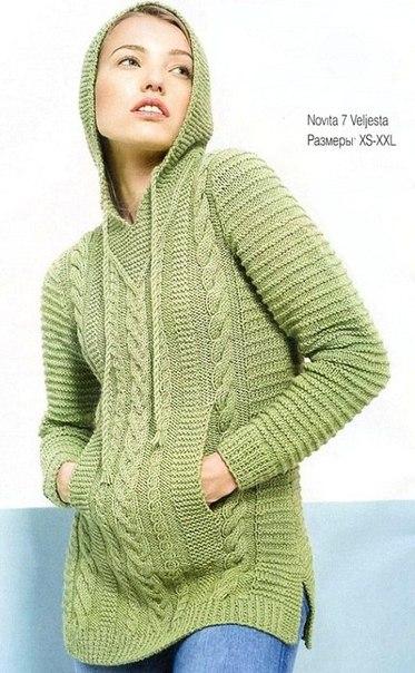 Стильный .пуловер с капюшоном.. (10 фото) - картинка