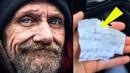 Студентка купила еду бездомному. Час спустя он протянул ей смятую записку, это тронуло её до слёз...