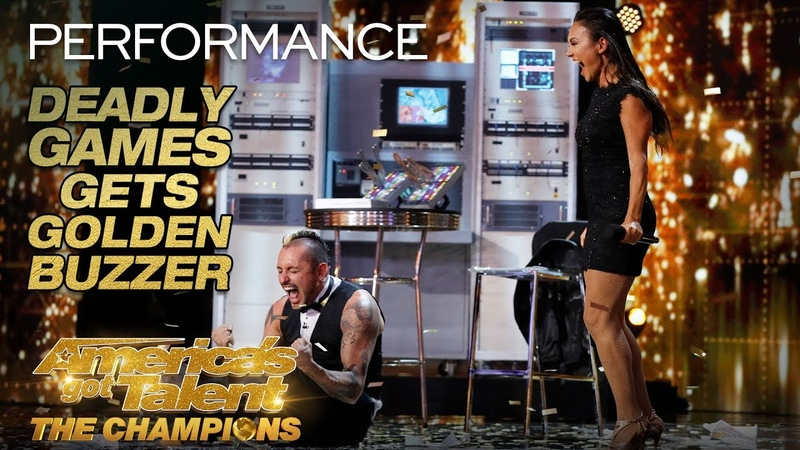 Deadly Games Knife Throwing Danger Act Gets Golden Buzzer! - Americas Got Talent The Champions