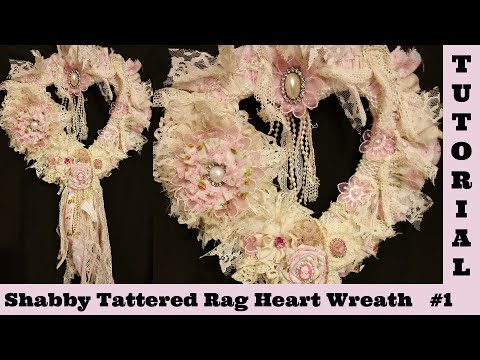 Tattered Heart 1, Wreath, wall hanging, lace, no sew, Shabby Chic Tutorial, Crafty Devotion