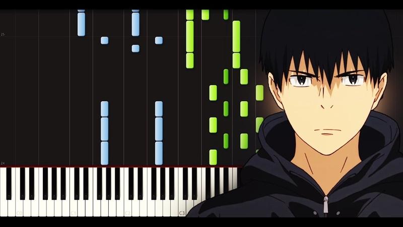 Kaze ga Tsuyoku Fuite Iru ED Reset Piano tutorial FREE SHEETS Synthesia