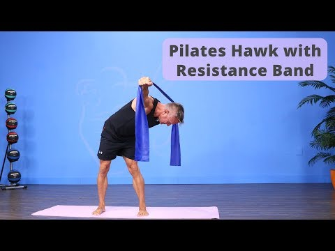 Standing Hawk with Pilates Resistance Band
