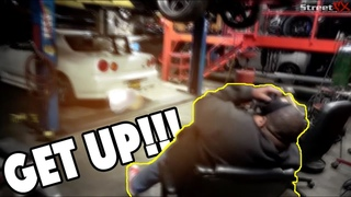 Brutal R34 GT-R wake up call! The 1000hp Antilag launch control alarm clock prank.