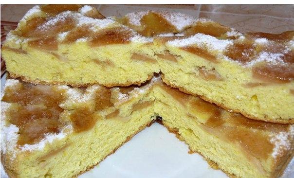Бисквитный пирог с яблоками рецепт с фото