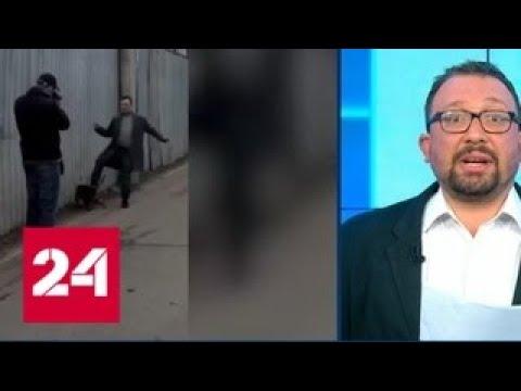 В кадр москвича попал человек, пинающий животное, похожее на кота - Россия 24