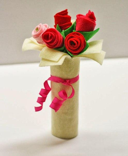 Симпатичный фетровый букетик роз. (10 фото) - картинка