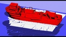 Ship model cruising over an ice layer. Lateral view