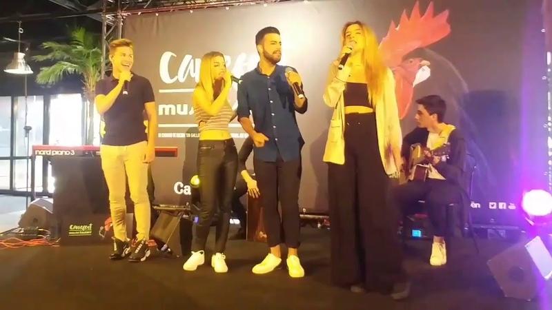 Raoul, Agoney, Nerea y Mimi cantan Camina en la presentación del Carrefest 2018 en Madrid 7-6-18