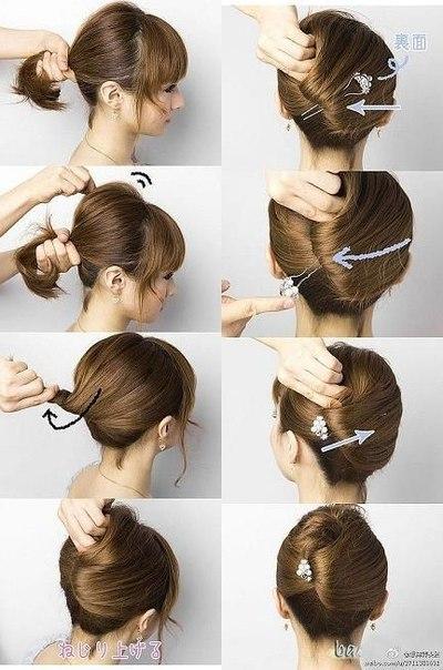 Прическа на средние волосы простая своими руками