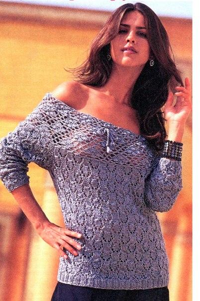 Вязаный пуловер с открытыми плечами. вязание спицами модели 0010 года беспл