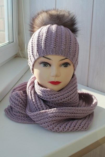 Вязание женских шапок с помпоном