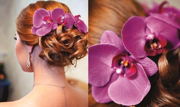 прически с цветами в волосах фото с орхидеями