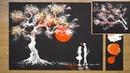 Aluminum Foil Painting Technique / How to draw Romantic Couple beside tree / Art Hacks