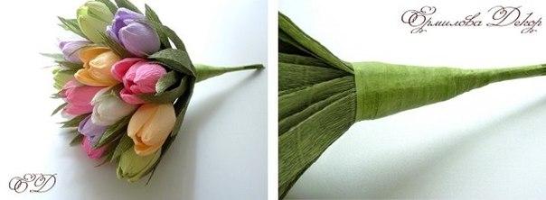 Из гофрированной бумаги своими руками мастер класс тюльпаны из
