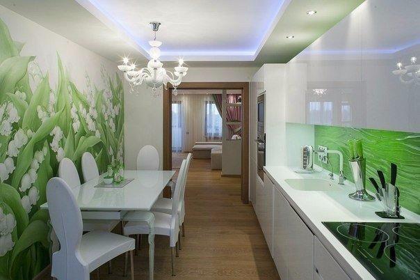 интерьер кухня в салатовых тонах фото