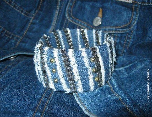 Браслет из джинса своими руками