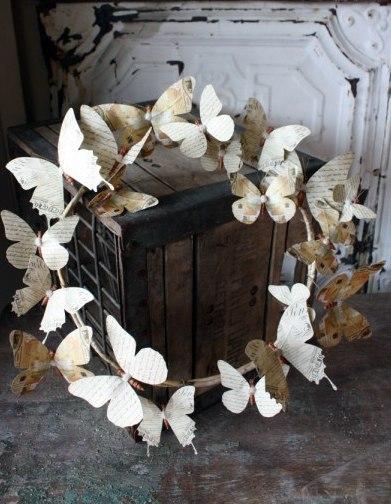 Винтажный веночек с бабочками (7 фото) - картинка