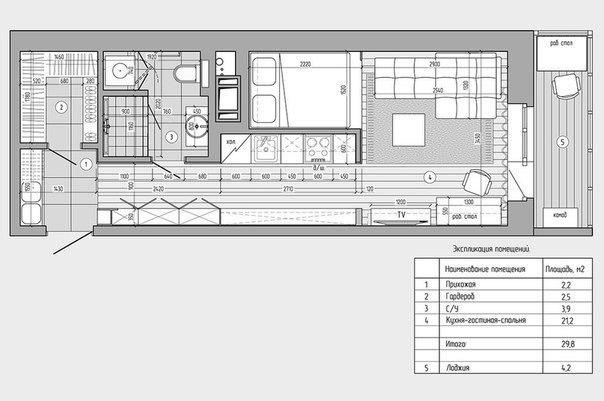 Продуманный интерьер небольшой квартиры, 29 кв.